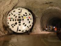 Der Bohrkopf der Tunnelbohrmaschine.