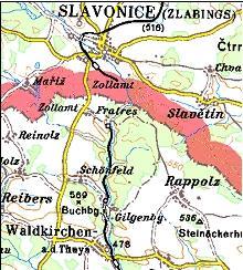 Planausschnitt Waldkirchen a. d. Thaya - Slavonice/Zlabings